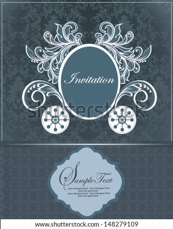 blue vintage wedding invitation design with carriage - stock vector