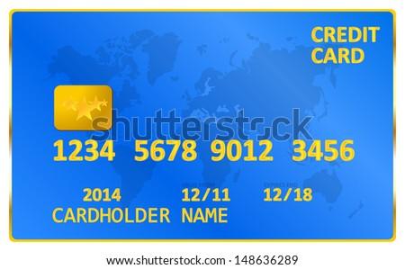 Blue Visa Credit Card - stock vector