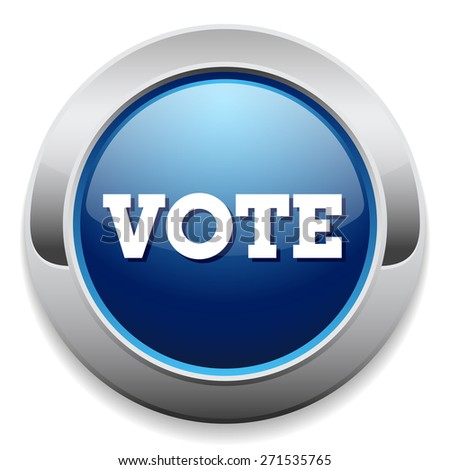 Blue vote button with metal border on white background - stock vector