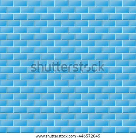 Blue Wall Tiles. Vector Illustration Of Blue Wall Tiles As Seamless Pattern
