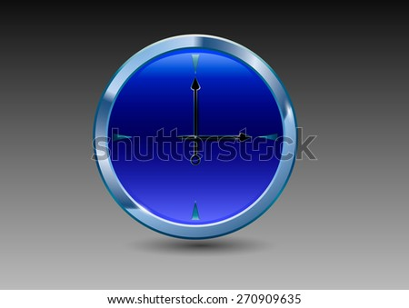 blue watch with a metal shell on a gray background - stock vector