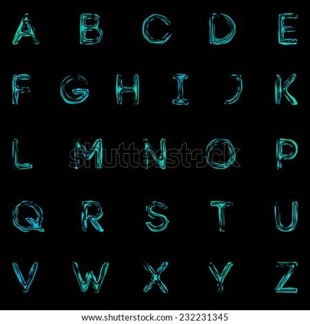 Blue water alphabet. Vector illustration. - stock vector