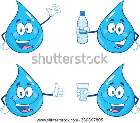 Blue Water  Drop Character In Different Poses 1. Vector Collection Set