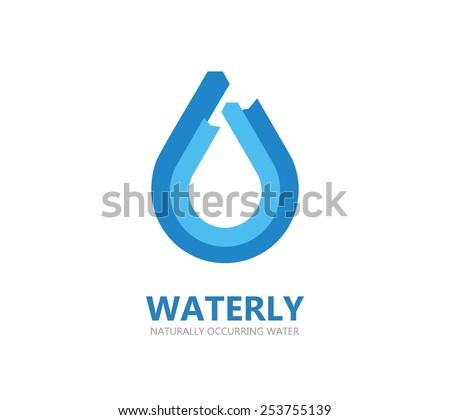 Blue water drop logo - stock vector