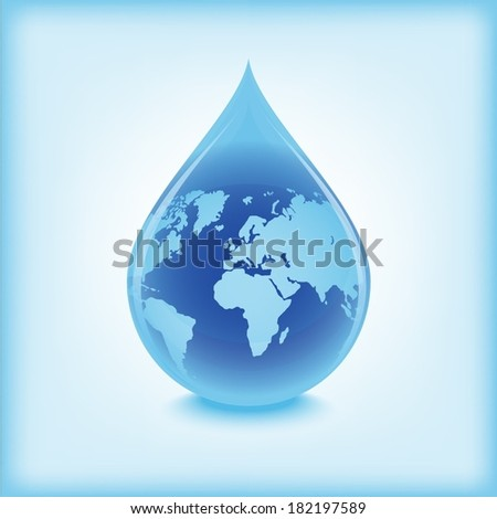 Blue water drop with world globe inside - stock vector