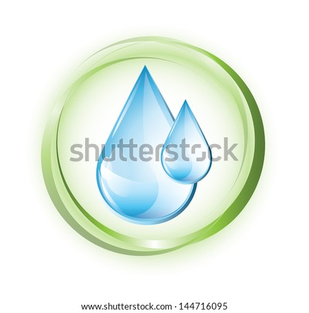 Blue water drops in green circles, EPS 10, isolated - stock vector