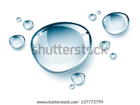 Blue water drops, isolated, EPS 10 - stock vector