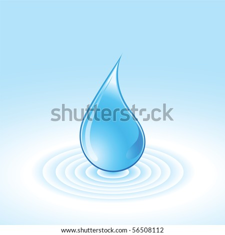 Blue water drops - vector abstract a  background. - stock vector