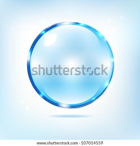 Blue Water Splash Ball, Abstract Background, Vector Illustration - stock vector