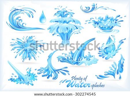 Blue Water Splash Icons - stock vector