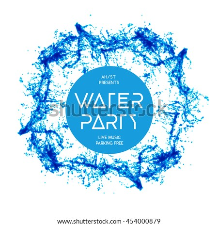Blue water splash isolated on white - stock vector