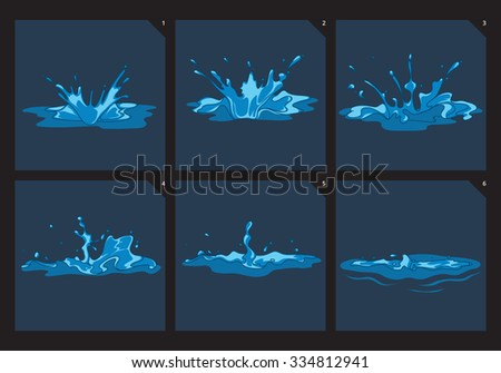 Blue water splashes vector frame set for game animation. Order motion splashing illustration - stock vector
