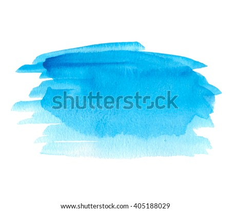 Blue water watercolor hand drawn isolated vector spot on white background for decoration. Abstract brush paint paper texture artistic illustration for banner, design, print, template, cover, scrapbook - stock vector
