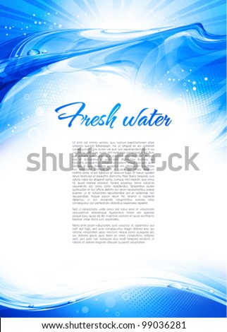Blue water wave. Abstract background. Vector