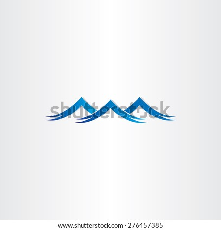 blue water waves stylized symbol design - stock vector