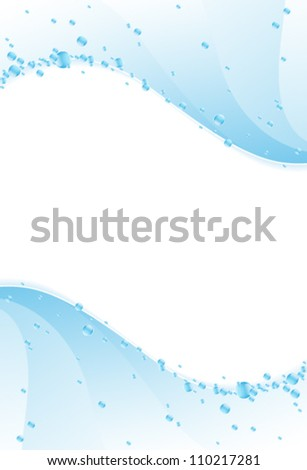Blue water waves with  shiny bubbles and sparks. Clear water background. - stock vector
