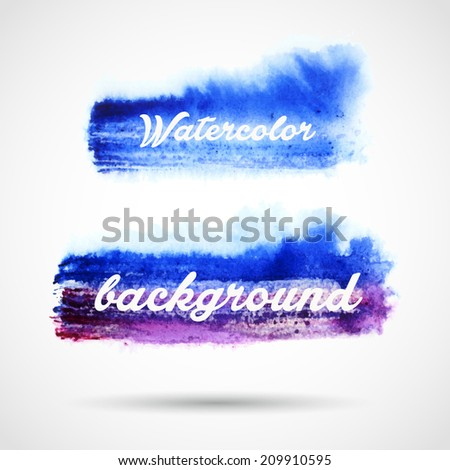 blue watercolor brush strokes - stock vector