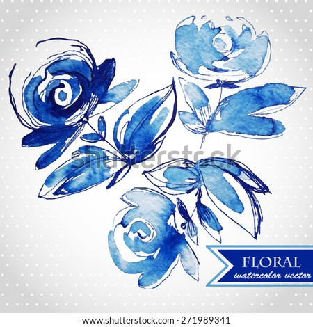Blue watercolor flowers and grass edging. Vector illustration