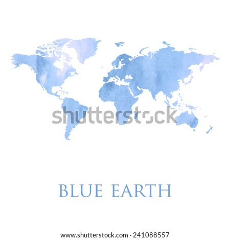 Blue Watercolor Map World Illustration Made Stock Vector (Royalty ...