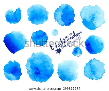 Blue watercolor painted vector stains set - stock vector