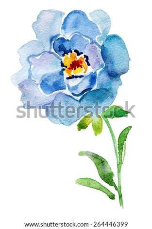 Blue watercolor rose,  vector illustration - stock vector