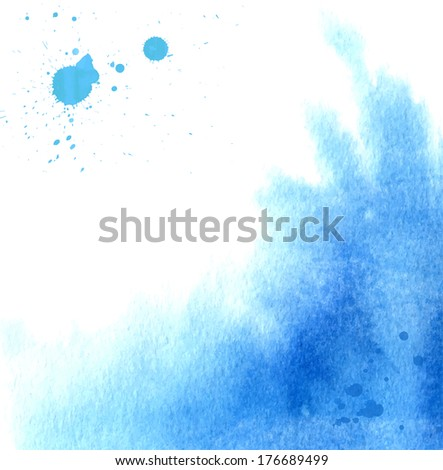 Blue watercolor splash - vector image - stock vector