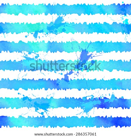 Blue watercolor style stripes vector seamless pattern - stock vector
