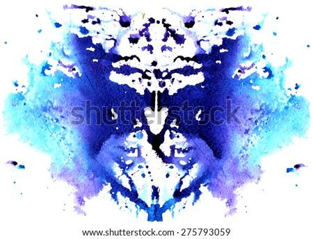 blue watercolor symmetrical Rorschach blot on a white background - stock vector