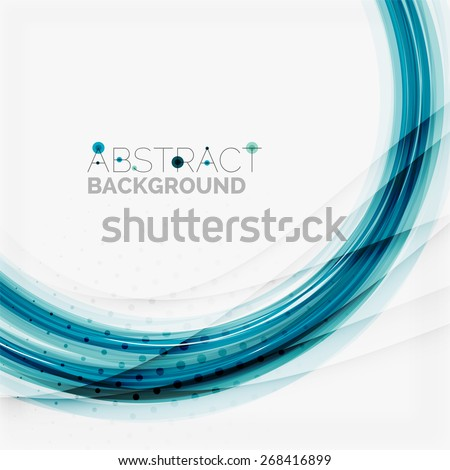 Blue wave abstract background, lines on white template - stock vector