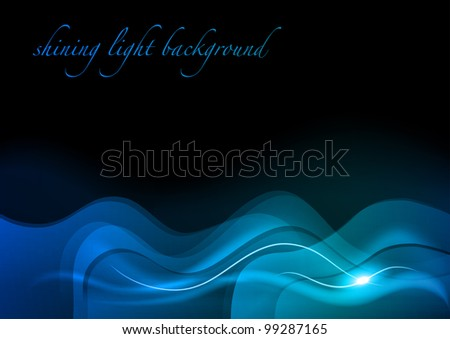 blue wave background in the dark - stock vector