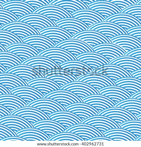 Blue wave pattern, linear design  - stock vector