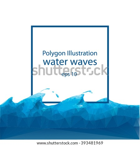 Blue wave polygonal mosaic vector illustration, Creative design templates.