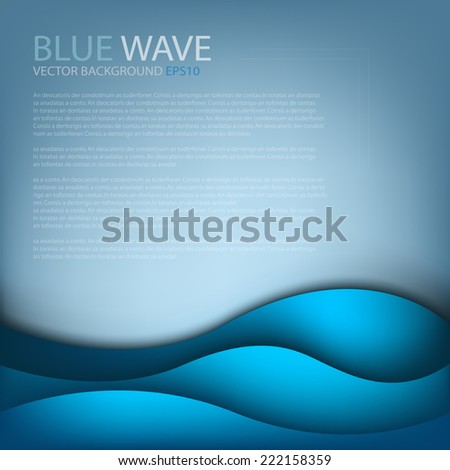 Blue wave sea vector background for text and message design - stock vector
