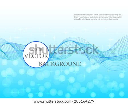 Blue wave vector background with colorful tape / ribbon, shiny sparkles, abstract backdrop, bokeh effect - stock vector