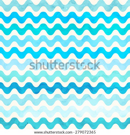 Blue wave watercolor seamless pattern. Vector background - stock vector