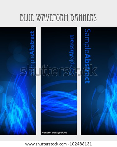 Blue waveform vector banners - stock vector