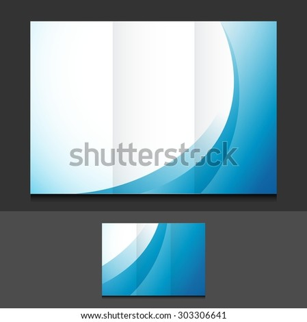 blue waves trifold template illustration design over a grey background