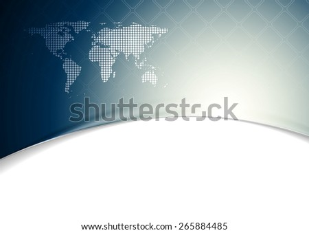 Blue wavy tech background with world map. Vector design - stock vector