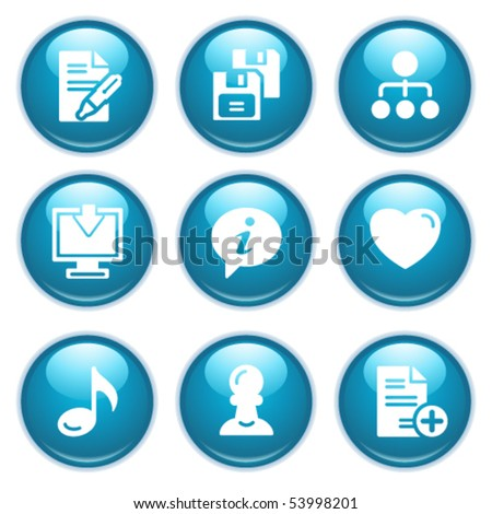 Blue web buttons 10 - stock vector