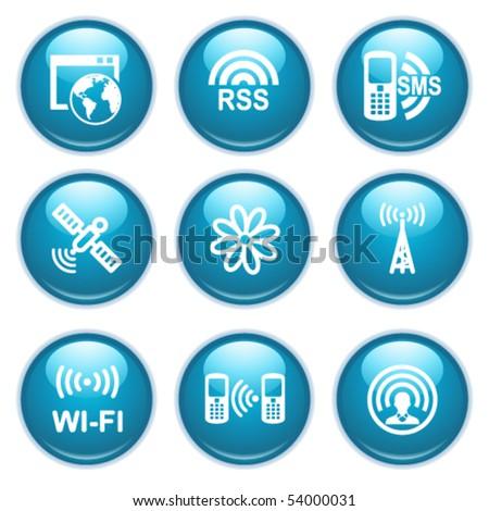 Blue web buttons 30 - stock vector