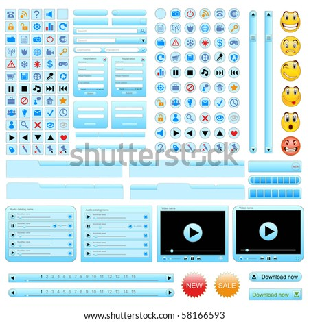 Blue web design elements set. Vector illustration - stock vector