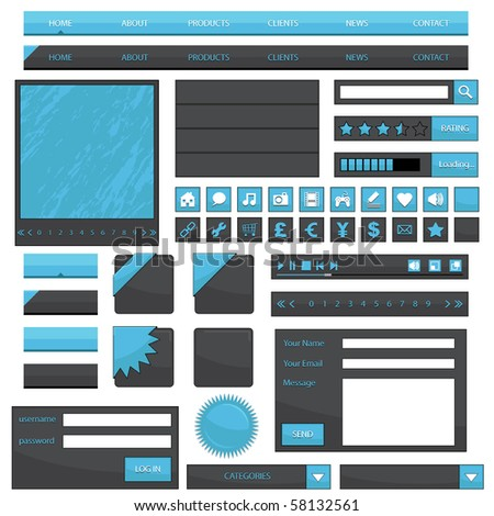 blue web navigation with buttons, boxes and icons isolated on white