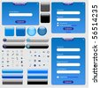 Blue web template with forms, bars, buttons and many icons. - stock vector