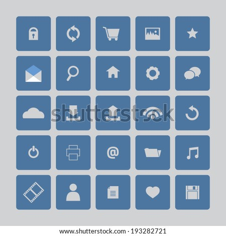 Blue Website Vector Icons Set