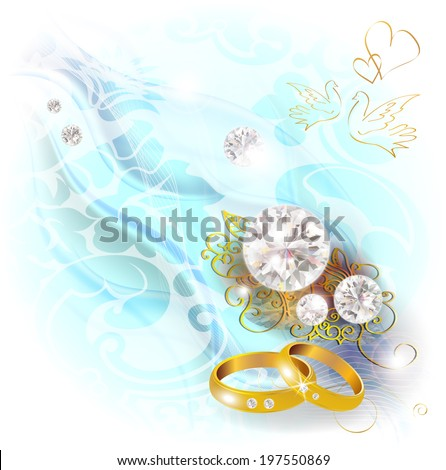 Blue Wedding background with rings and diamonds - stock vector