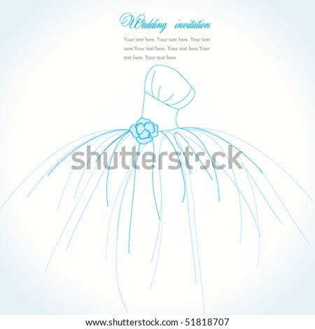 Blue wedding invitation or card