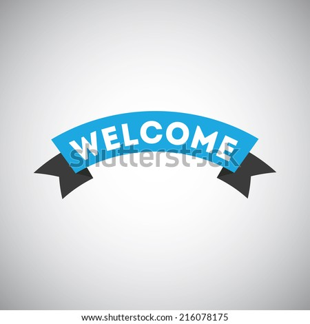 Blue welcome ribbon on gray background - stock vector