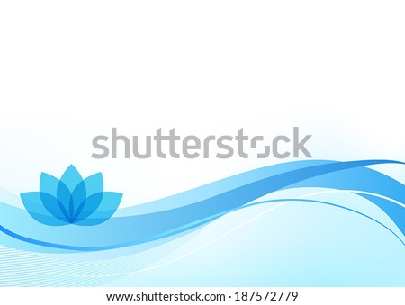 Blue wellness background with a lotus plant. - stock vector