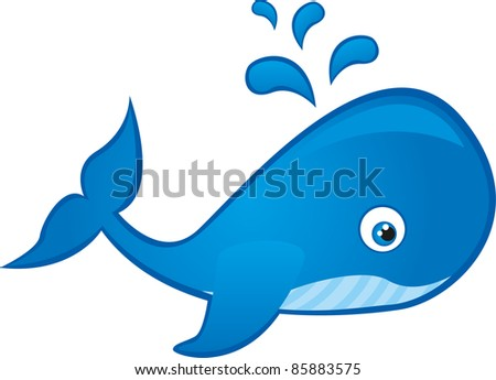 blue whale cartoon isolated over white background. vector - stock vector