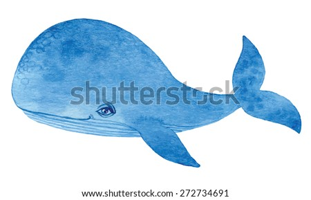 blue whale - watercolor cartoon hand drawing vector paint  - stock vector